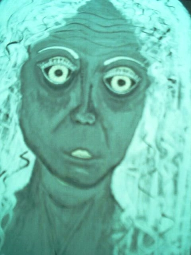Painting of old woman in black and white.